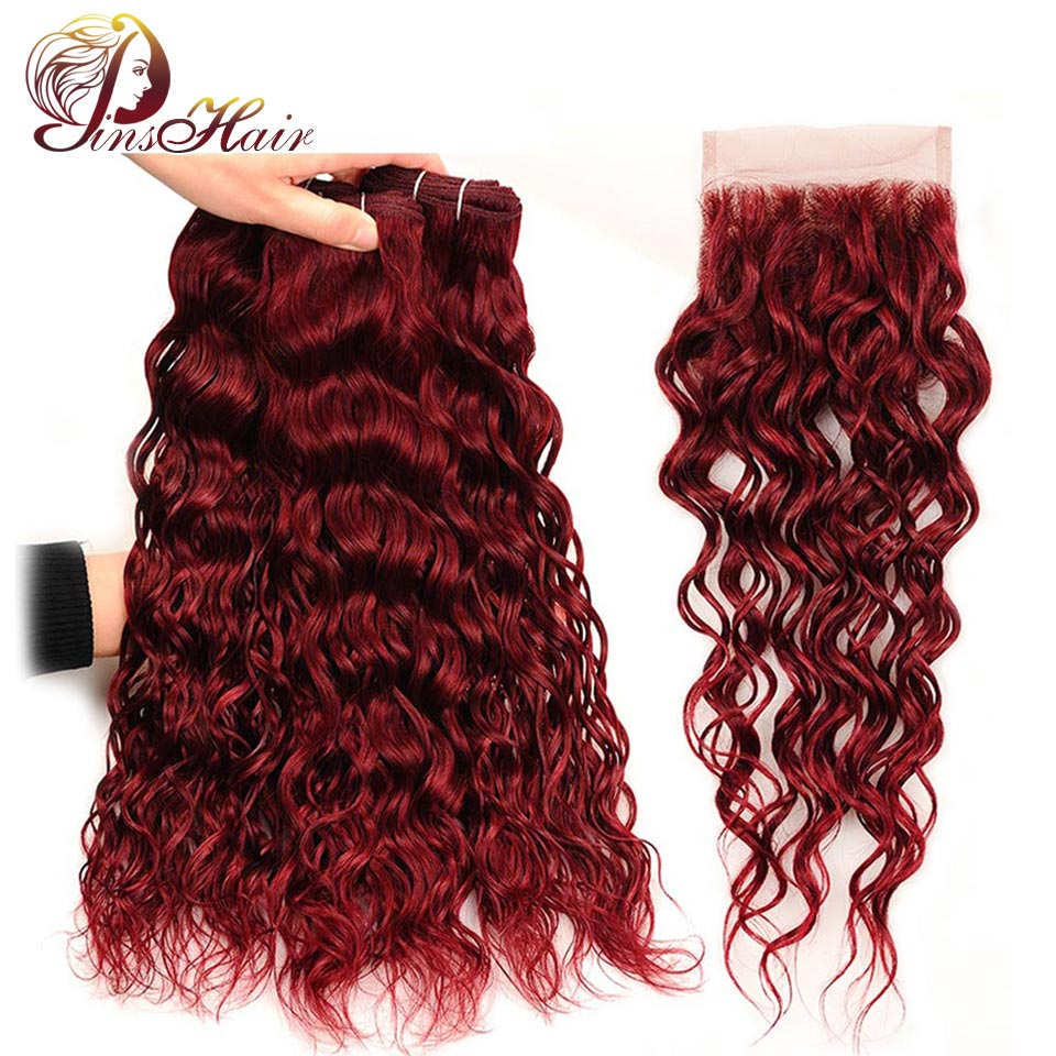 Pinshair 99J Brazilian Hair Water Wave Red 3 Bundles With Closure Burgundy Wet Wavy Thick Non Remy Human Hair With Lace Closure