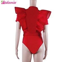 Fashion Women's Ruffle Bodysuits Mesh Patchwork Sexy Bodysuit Belt Overalls Slim Combinaison Femme Button Up Body For Women