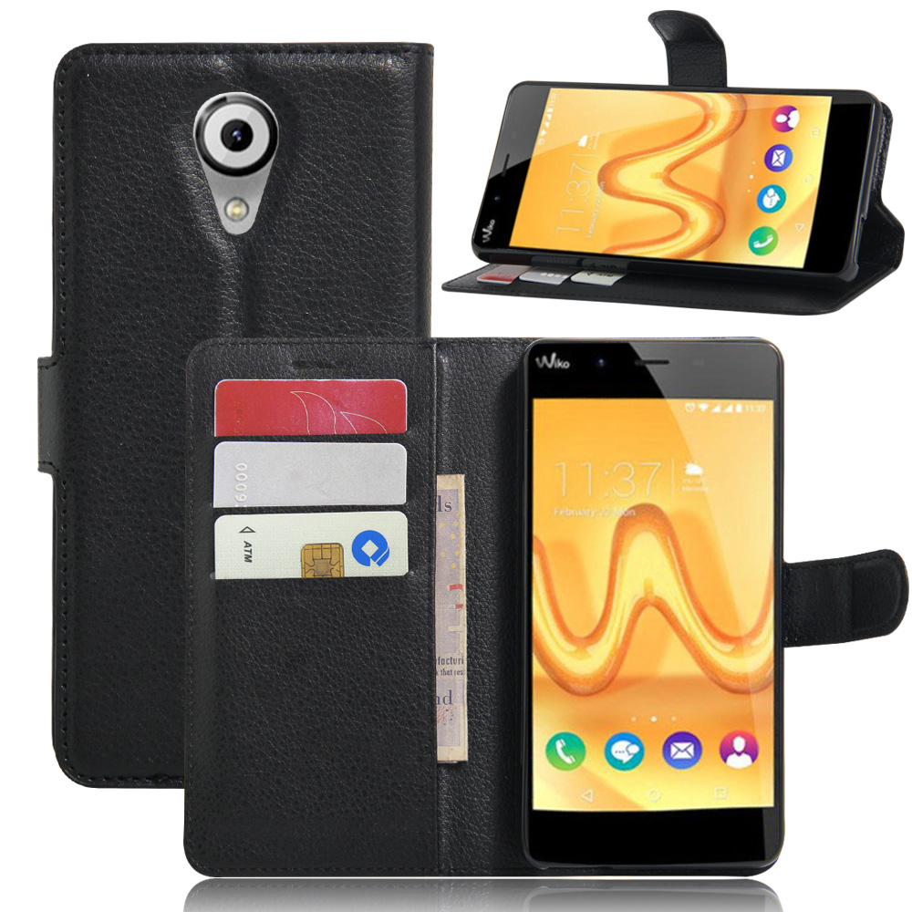 For Wiko <font><b>Tommy</b></font> <font><b>Case</b></font> Lychee Print PU Leather <font><b>Case</b></font> For Wiko <font><b>Tommy</b></font> <font><b>Case</b></font> Flip Stand Wallet <font><b>Phone</b></font> Shell Back Cover With Card Holder