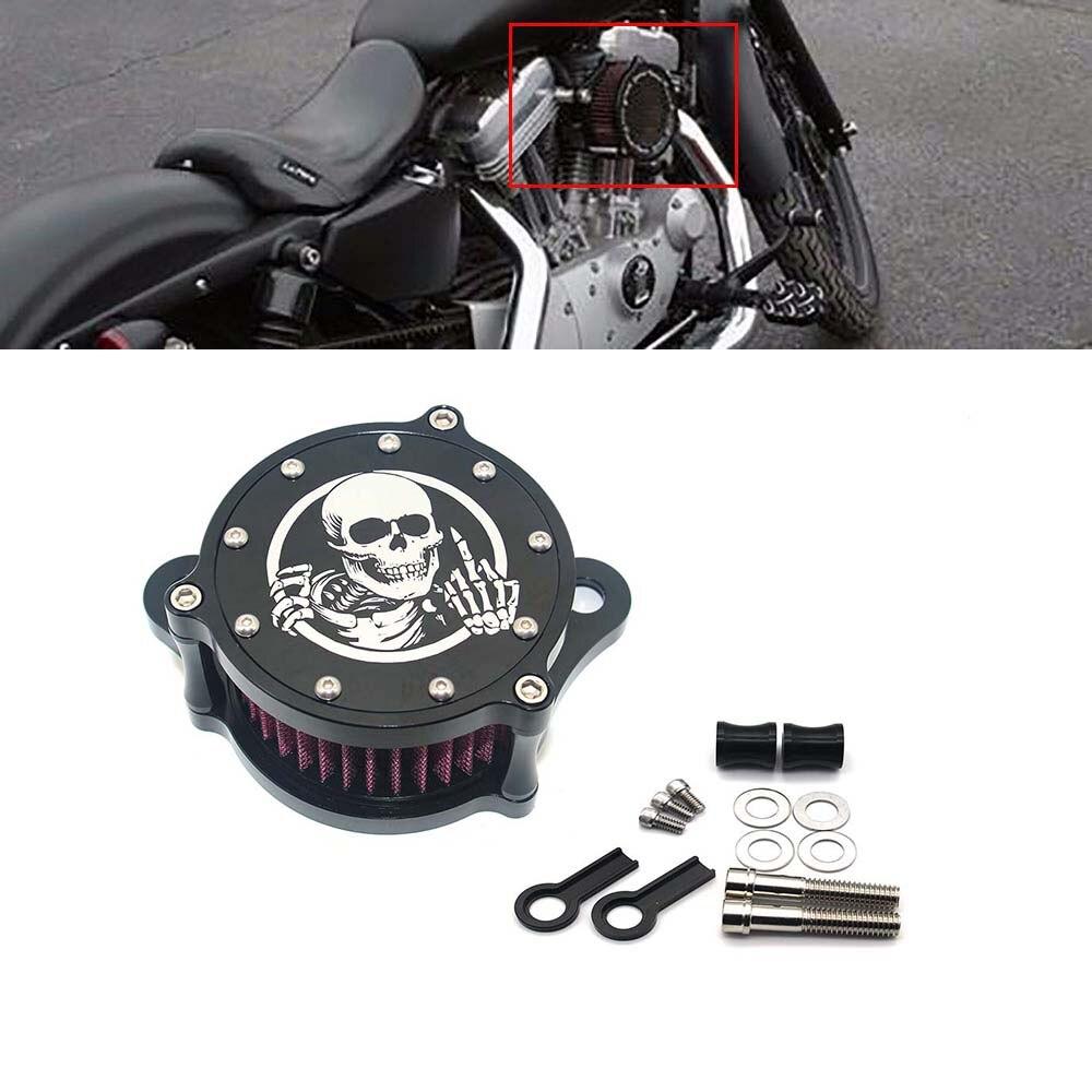 Filtre à Air noir système de nettoyage Performance nettoyeur d'air Kit crâne moyen doigt Style adapté pour Harley Sportster 1200 883 91-17