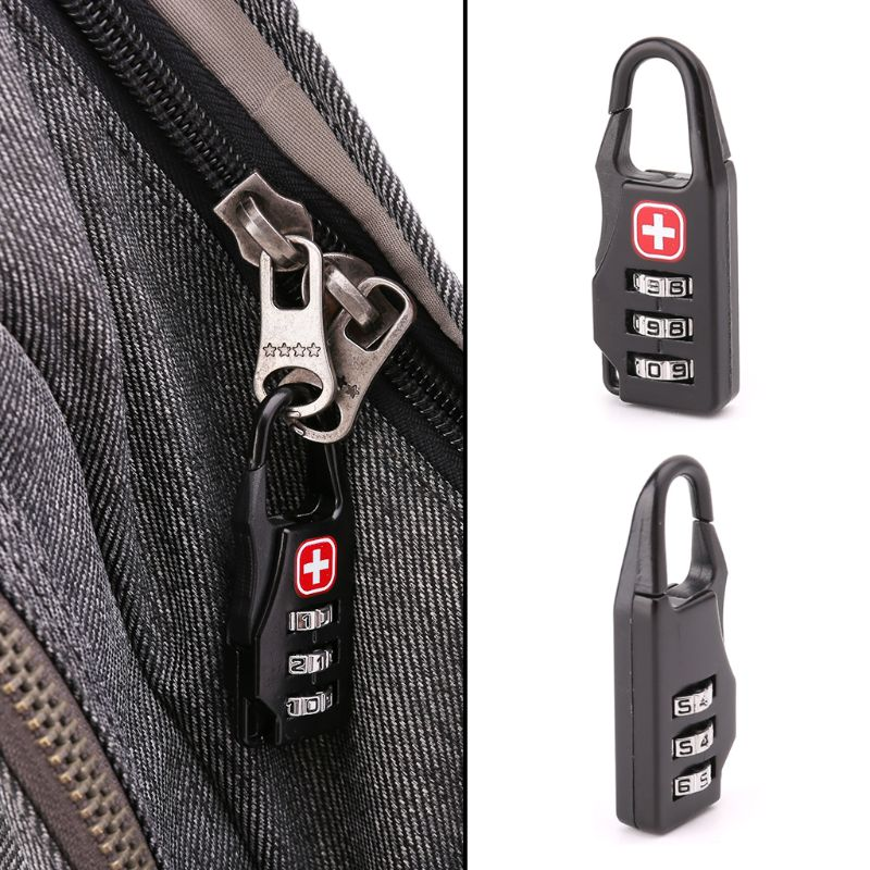 1PCS Swiss Cross Symbol Combination Safe Code Mini Padlock For Luggage Zipper Bag Backpack Bag Suitcase Drawer