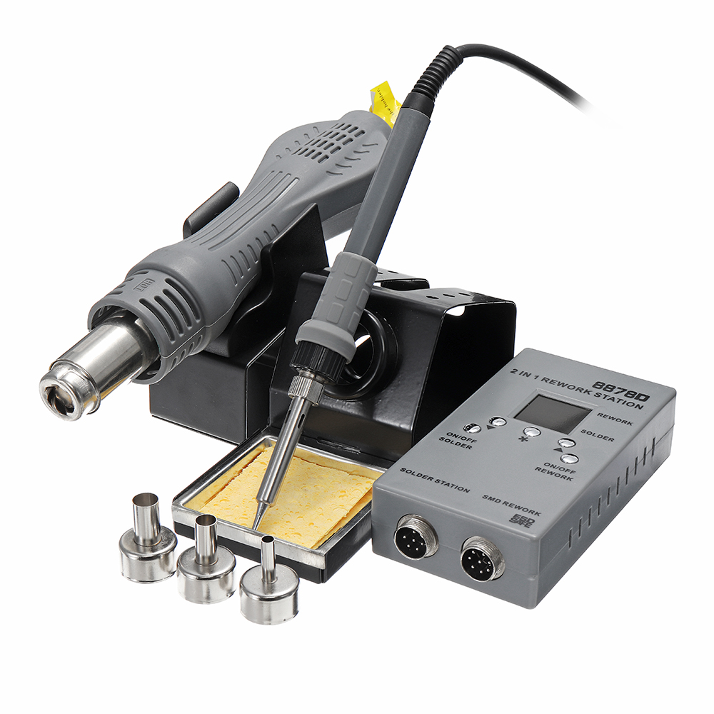 8878D 2 In 1 SMD Rework Soldering Station Hot Air Guns Welding Solder Iron Repair Tool8878D 2 In 1 SMD Rework Soldering Station Hot Air Guns Welding Solder Iron Repair Tool