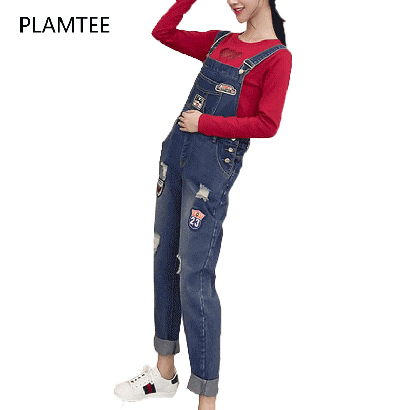 PLAMTEE Patch Overalls Jumpsuit Maternity Jeans For Pregnancy Clothing Pregnant Women Hole Suspenders Mother Trousers Plus Size 2015 new fashion women s overalls trousers plus sizes women casual jeans denim suspenders pants jumpsuit free shipping q548