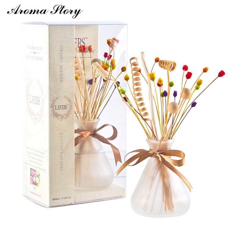 3 pcs/lot 100 ml En Verre Dépoli Diffuseur avec Arc et Coloré Roseau Bâtons 6 Parfums Décoration de La Maison Livraison Gratuite