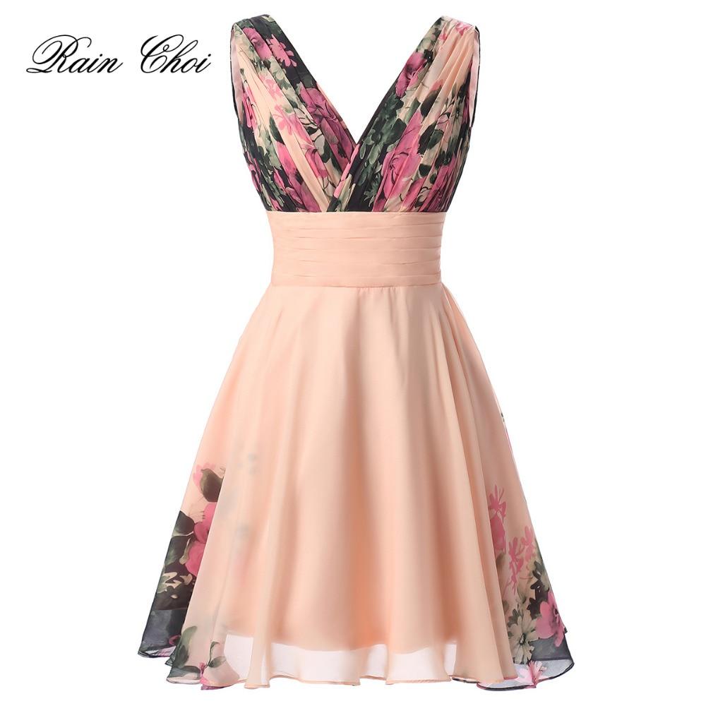 Chiffon Evening Dress Party Gown Floral Printed Short Evening Dress 2020 Robe De Soiree