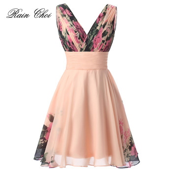 Chiffon Evening Dress Party Gown Floral Printed Short 2020 Robe De Soiree