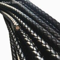 О Fit 6 мм 15 м Подлинная круглый кожаный шнур плетеный из натуральной кожи наппа Jewelry аксессуары тканые веревку Craft делая