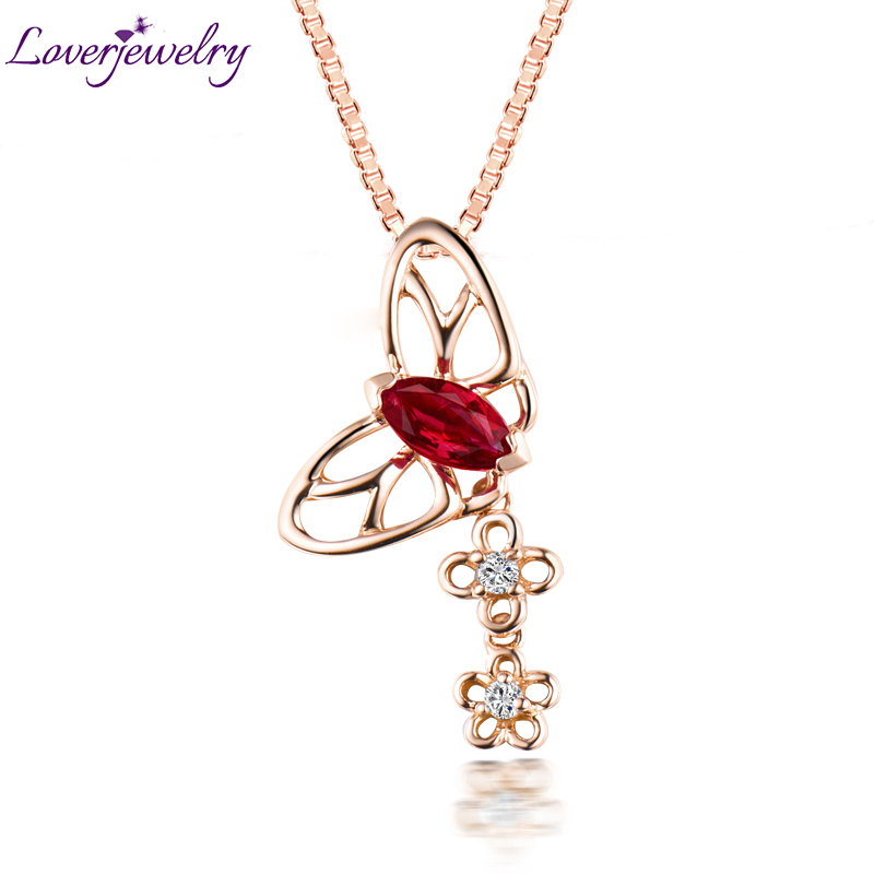 Solid 14K Rose Gold Genunie Ruby Gemstone Pendant Necklace Butterfly Shape Diamond Enegagement Jewelry for Wife Christmas Gift