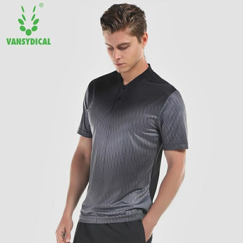 Vansydical Mens Gym Shirt Sports Golf Polo Shirts Tops Short Sleeve Jerseys Outdoor Workout Tennis Fitness Jogging Sportswear