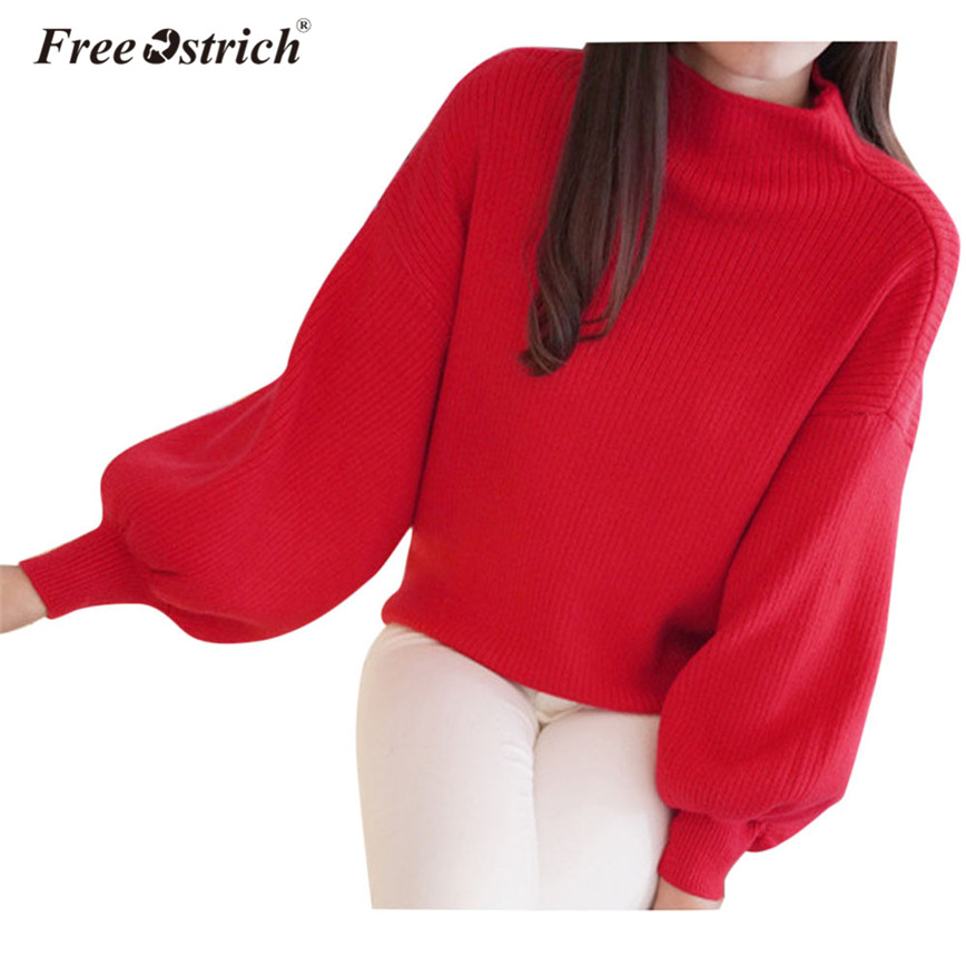 Free Ostrich High Quality Sweater Women Winter Warm Solid Turtleneck Long Sleeve Loose Pullovers Casual Knitted Jumper Tops