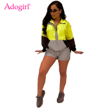 Adogirl Color Patchwork Reflective Women Tracksuit Two Piece Set Sheer Mesh Long Sleeve Sweatshirt Top + Shorts Casual Outfits