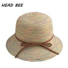 [Глава пчелы] 2018 бренд Защита от солнца Hat Kid Винтаж Летняя шляпа для мальчика и девочки элегантная соломенная шляпа в полоску пляжные Кепки детские