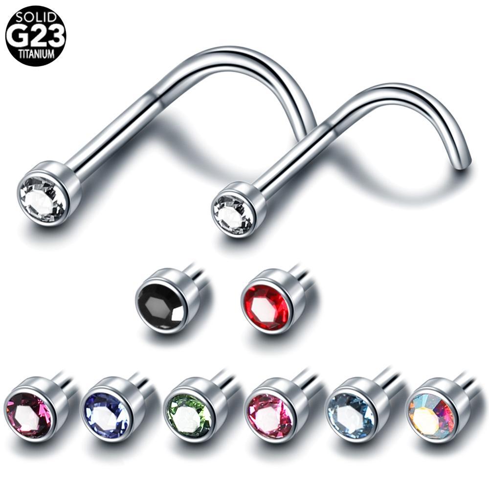 1pc G23 Titanium Nose Piercings Gem Piercing Nariz Nose Studs