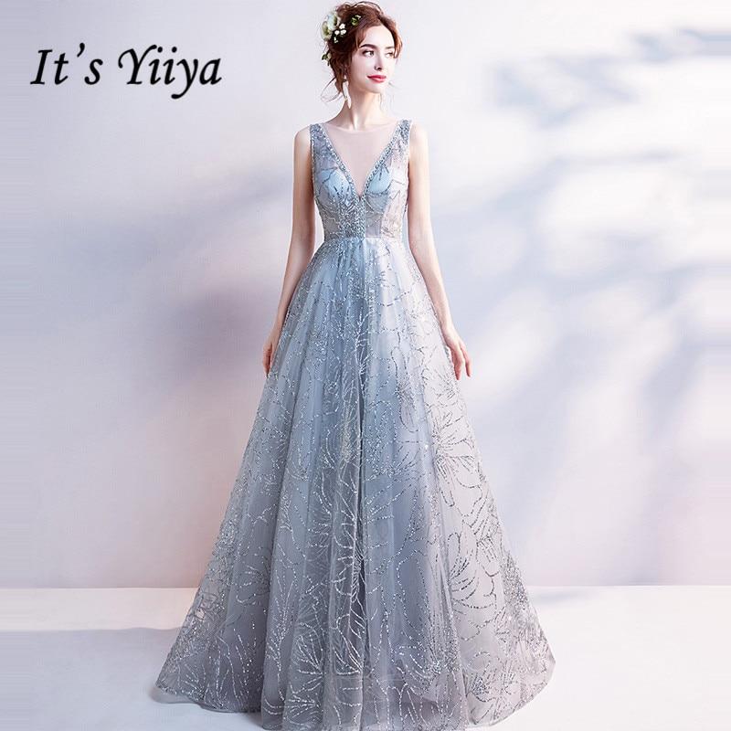 2da3910d0ab It s Yiiya Light Gray V-Neck Luxury Evening Dresses Bling Sequined Floor  Length Famous Designer