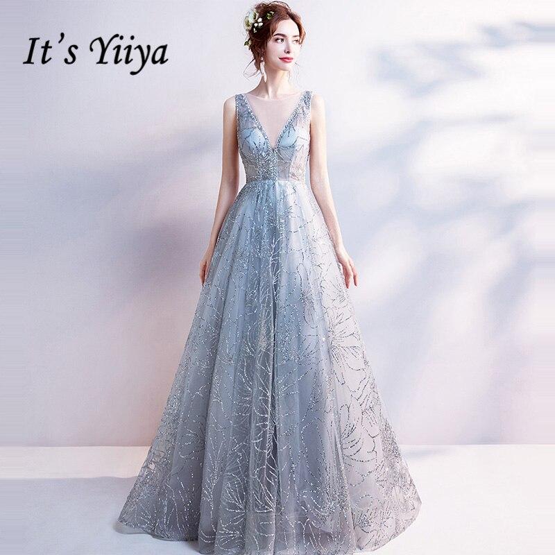 It's Yiiya Light Gray V-Neck Luxury   Evening     Dresses   Bling Sequined Floor Length Famous Designer Party Formal   Dress   LX264
