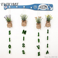 Hanging Artificial Plastic Flower Plush Grass Words Potted For Home Wall Garden Weeding Decoration
