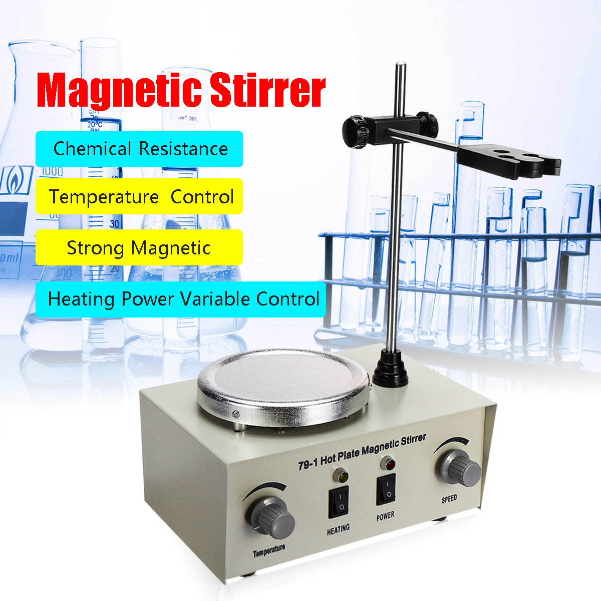 US/AU/EU 79-1 110/220 V 250 W 1000 ml agitateur magnétique à plaque chauffante mélangeur à double commande sans Protection contre les fusibles anti-bruit/vibrations - 2