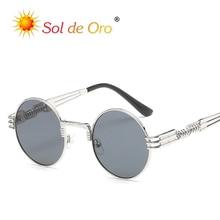SOL DE ORO Men Women 2019 New Sunglasses Trend Fashion Metal Sunglasses Stylish Retro Punk Round Frame Sunglasses stylish flecky round frame and golden leg design sunglasses for women