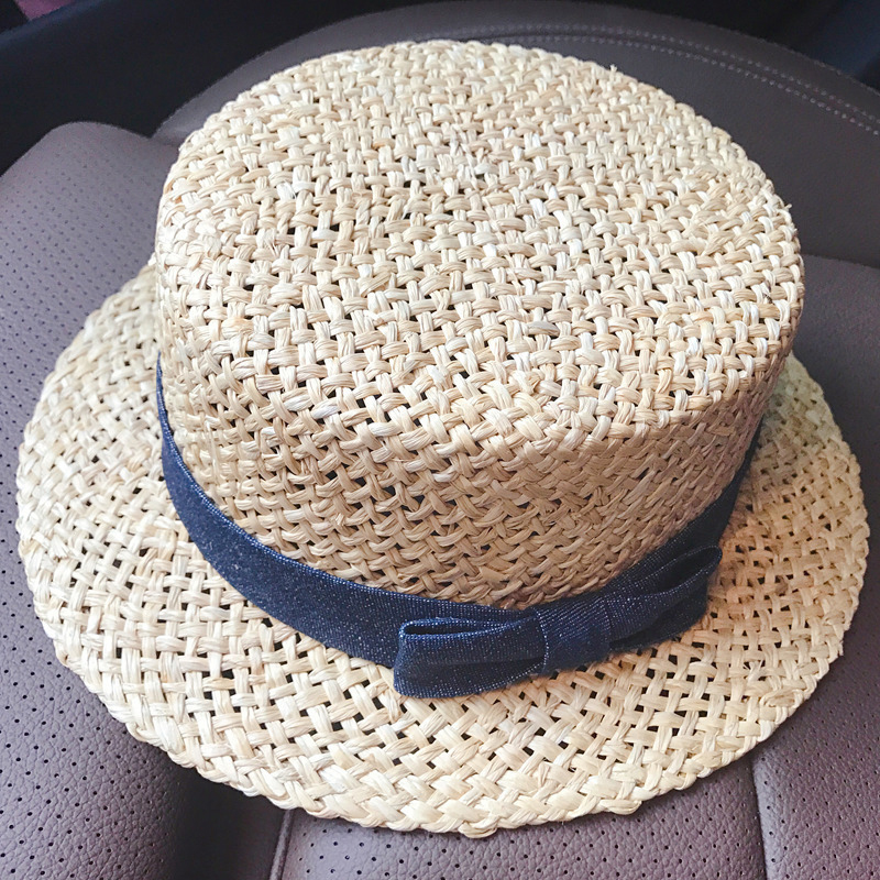 Summer handwoven flat-top cowboy bow hat natural Langya grass flat top sunscreen