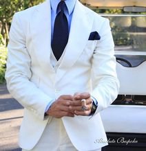 2017 Summer White Linen Beach Wedding Suits 3 Pieces Groom Tuxedos Prom Dinner Suit For Men Best Man Groomsman Suit Terno blazer