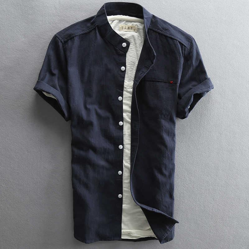 快適な 2019 男性の夏シャツ綿リネン半袖スリム男性トップ品質高速配送