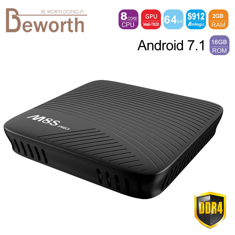 Mecool M8S Pro Android 7.1 Smart TV Box 2GB DDR4 RAM 16GB Amlogic S912 Octa Core Media Player 2.4G/5G Wifi Bluetooth Original