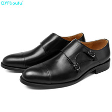 2019 Genuine Leather Shoes For Men Wedding Office Dress Shoes Handmade Double Monk Strap Formal Shoes Men Casual