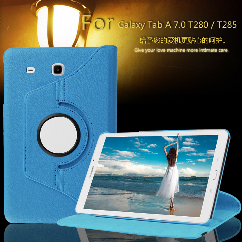 360 degree Rotating Litchi Pattern PU leather case smart cover For Samsung Galaxy Tab A 7.0 T280 T281 T285 SM-T280 Tablet cases