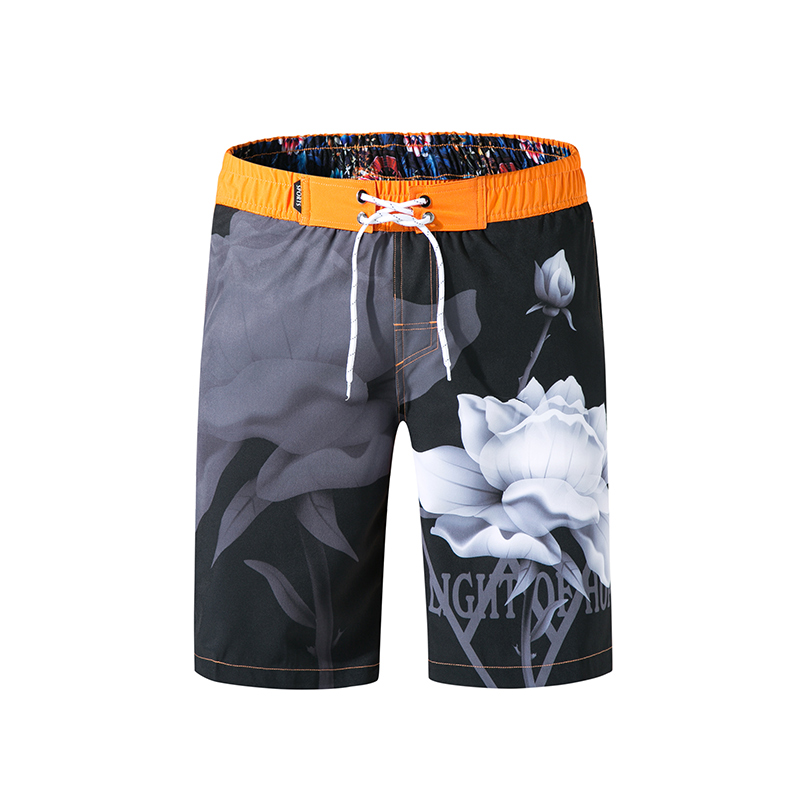 Men's Board Shorts Beach Boardshorts For Swimwear Bermuda Swim Outdoor Sports Surfing Shorts Quick Dry Silver Swimming Trunks