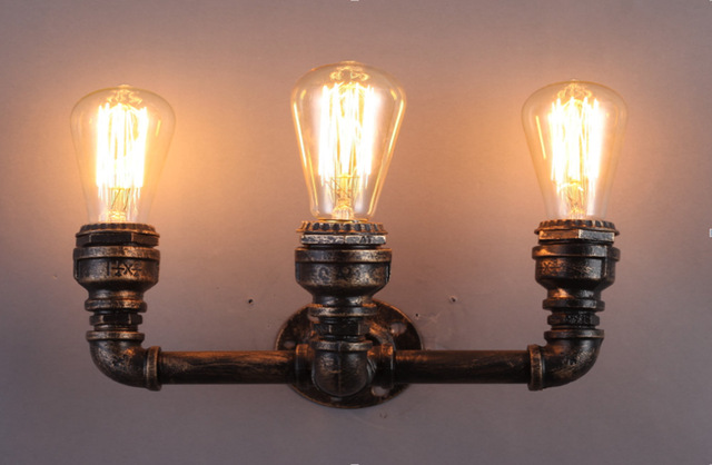 Teste di illuminazione lampadina retro ferro tubo di acqua