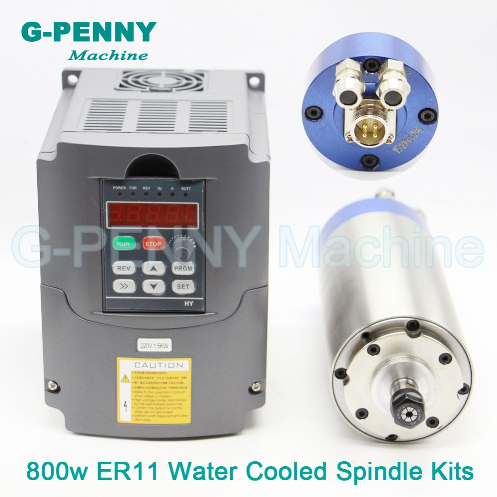 220V 800W ER11 CNC Water Cooling Spindle Motor wood working spindle + 1.5kw inverter/VFD variable frequency driver speed control water cooling spindle sets 1pcs 0 8kw er11 220v spindle motor and matching 800w inverter inverter and 65mmmount bracket clamp