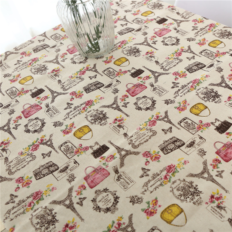 2019 New Year Table Cloth Tower Print Cotton Linen Rectangular Table Cover Birthday Tablecloths House Wedding Tafelkleed Katoen in Tablecloths from Home Garden