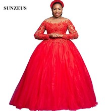 Sunzeus Ball Gown Long Sleeves Red Evening Dresses Illusion