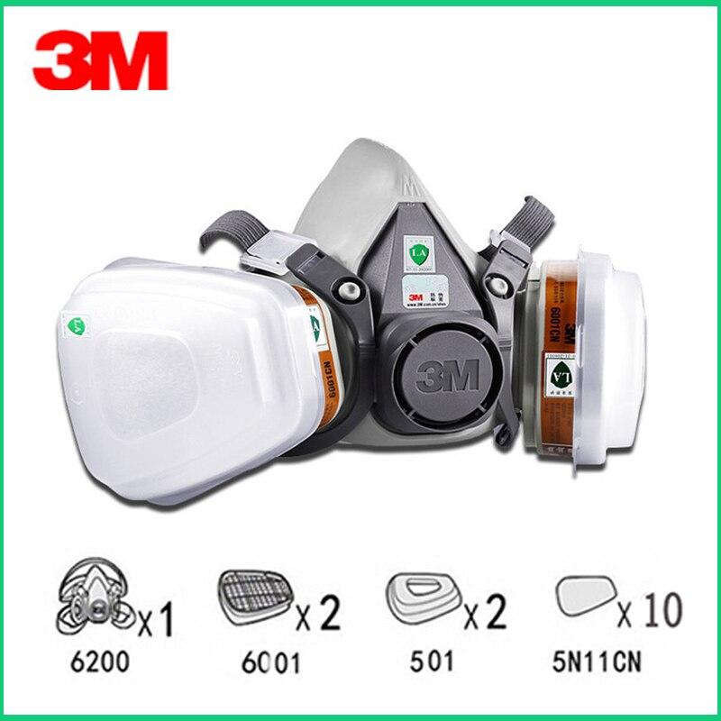 3 m 6200 meia pintura facial de pulverização respirador máscara de gás 15 em 1 terno segurança trabalho filtro máscara poeira