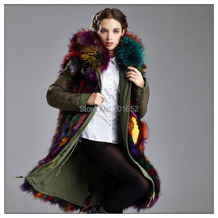 7 красочные Fox Меховые пальто парка реальные зеленые пальто с мехом Куртка Для женщин На зимнем меху пальто Большие Размеры mr мех для девушек