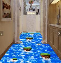 3d pvc flooring custom photo mural picture wall sticker Blue sky and white clouds  floor painting room wallpaper for walls 3d