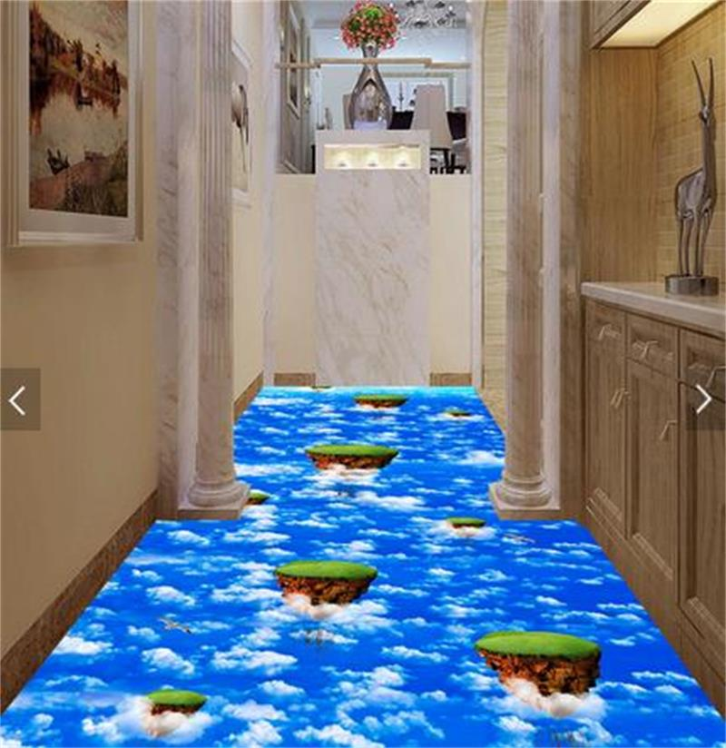 3d pvc flooring custom photo mural picture wall sticker Blue sky and white clouds  floor painting room wallpaper for walls 3d 3d wallpaper custom mural photo blue sky white sky hot air balloon lake decor painting 3d wall murals wall paper for walls 3 d
