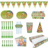 Dschungel Geburtstag Party Einweg Geschirr Dschungel Tier Einweg Platten/Tassen/Servietten Safari Dschungel Party Dekoration Lieferungen