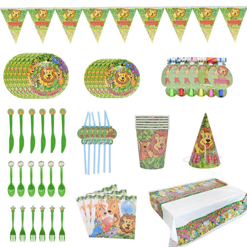 Jungle Birthday Party Disposable Tableware Animal Plates/Cups/Napkins Safari Decoration Supplies