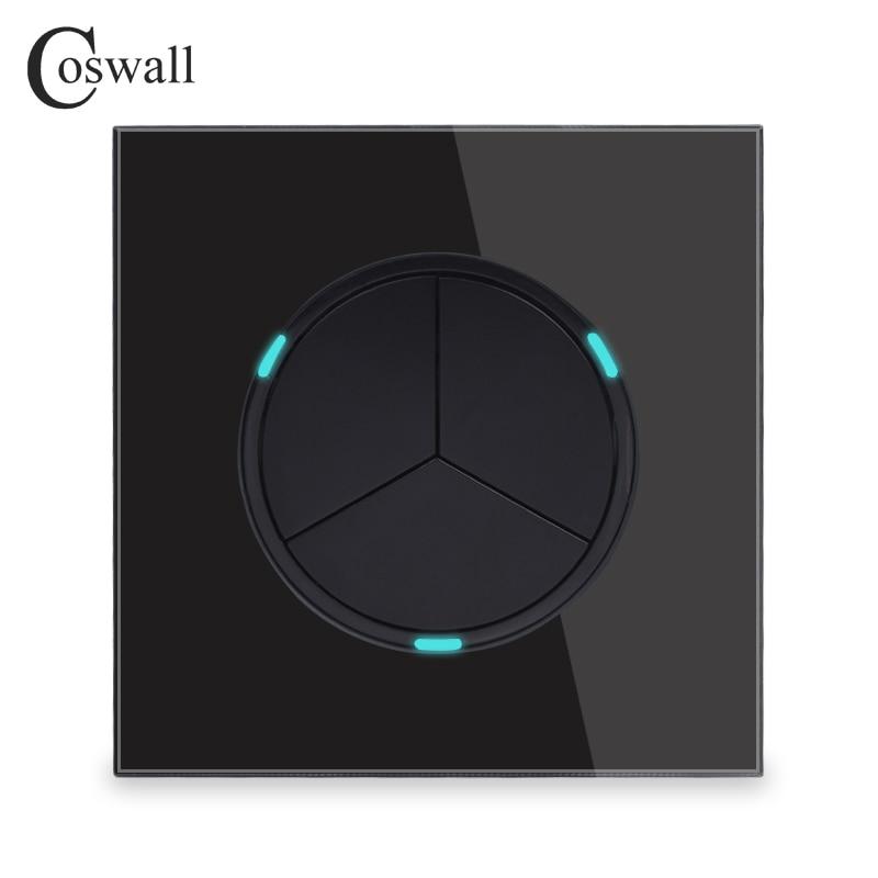 Coswall 3 банды 1 способ случайный щелчок вкл/выкл настенный выключатель света со светодиодным индикатором рыцарь Черный Кристалл Закаленное стекло панель