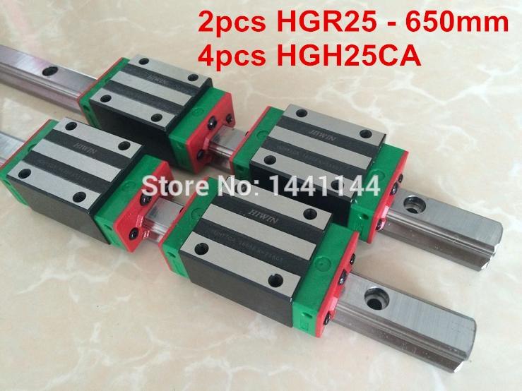 2pcs 100% original HIWIN rail HGR25 - 650mm Linear rail + 4pcs HGH25CA Carriage CNC parts 4pcs hiwin linear rail hgr20 300mm 8pcs carriage flange hgw20ca 2pcs hiwin linear rail hgr20 400mm 4pcs carriage hgh20ca