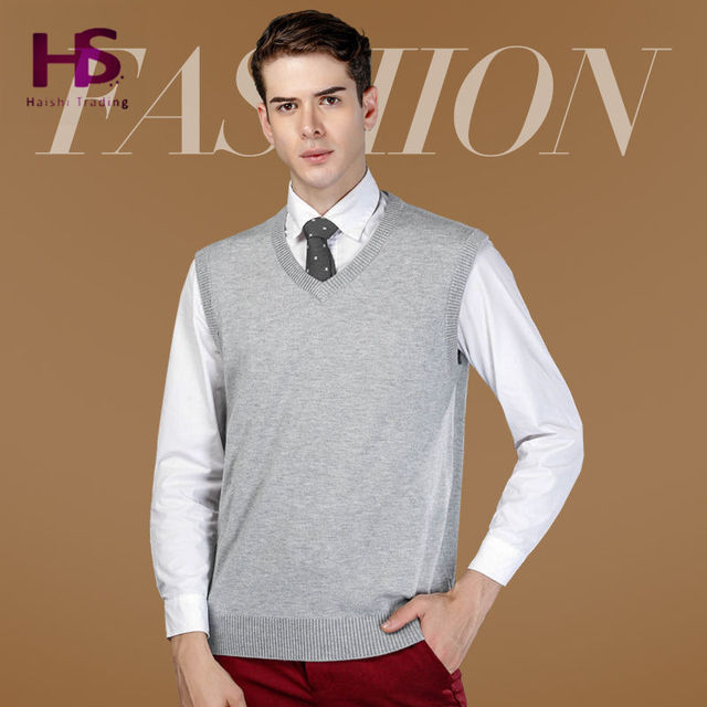 2016 New Autumn Winter Warm Cashmere Sweater Vest Men Classic Sleeveless Coat Wool Solid Color V-Neck Pullover Men Jersey Casual