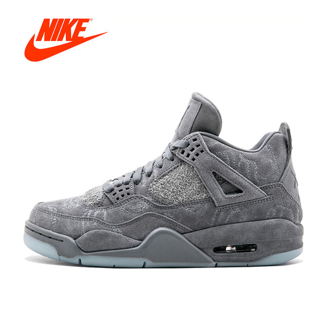 Novos Homens originais Nike Cinza KAWS X Air Jordan 4 Legal Cinza Suede  Tênis De Basquete 0922904016814