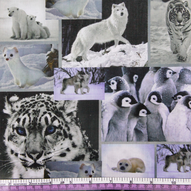 50*145cm Winter,animal patchwork print Polyester cotton fabric for Tissue Kids Bedding home textile for Sewing Doll,52153