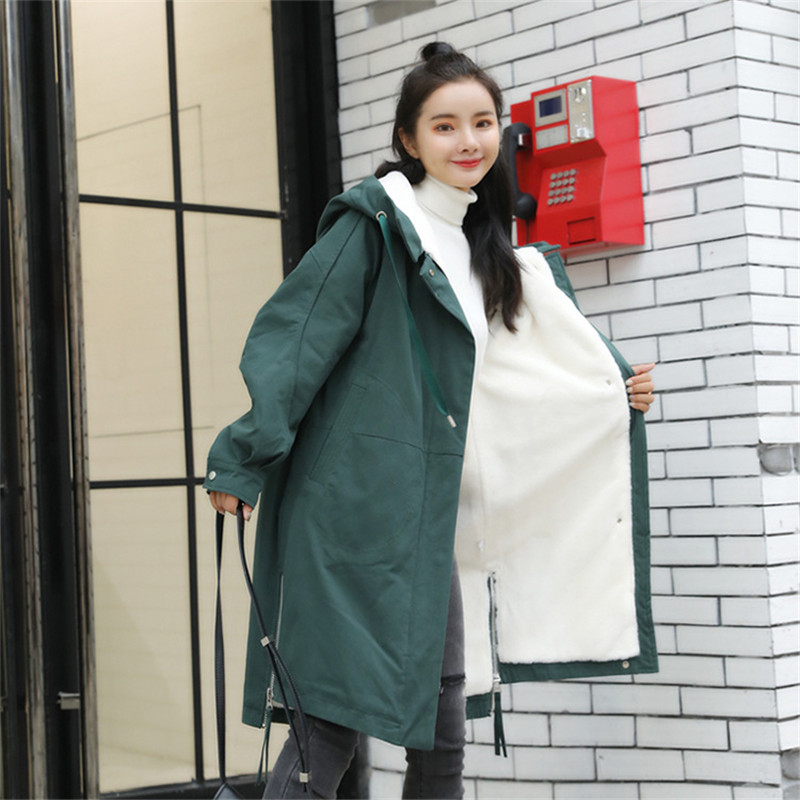 Solid Color Plus Velvet   Parkas   Women Winter Coat Long New Cotton Clothes Tide Loose BF Style Warm Solid Color Jacket MZ3217