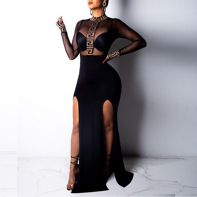 Side Split Fashion Sexy Women Bodycon Slim Skinny Turtleneck Long Sleeve Dresses 2019 Transparant Mesh Party Dresses