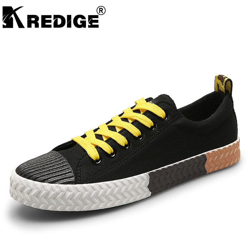 KREDIGE Breathable Low Canvas Shoes Mens Anti-Odor Light Lace-Up Casual Shoes New Non-Slip Soles Solid Big Size Male Shoes 39-44 kredige anti odor zip tide leather shoes hard wearing mens casual shoes pu breathable waterproof plate shoes british style 39 44