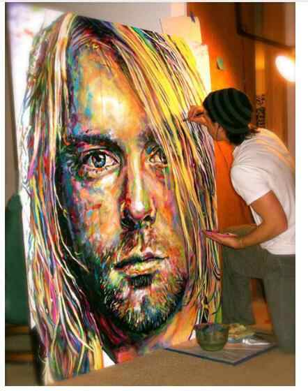 "TOP original ART oil painting-The Nirvana Lead Singer Kurt Cobain portrait -100% hand painted 36""--accept customize custom art"