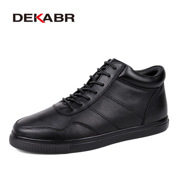 DEKABR Genuine Leather Men Winter Shoes Plus Size 36~48 Brand Handmade Black Super Warm Men Snow Boots Lace-Up Winter Men Boots