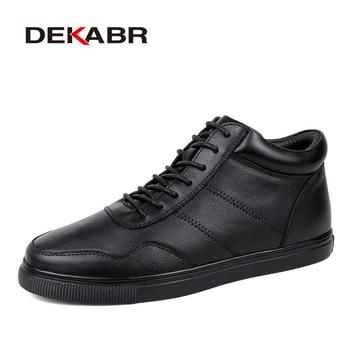 DEKABR אמיתי עור גברים חורף נעליים בתוספת גודל 36 ~ 48 מותג בעבודת יד שחור סופר חם גברים שלג מגפי תחרה -עד חורף גברים מגפיים